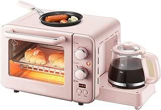 JINJN Retro 3-in-1 Multifunction Breakfast Hub Pink Family Size Breakfast Station(Toaster Oven, Griddle, Coffee Maker)