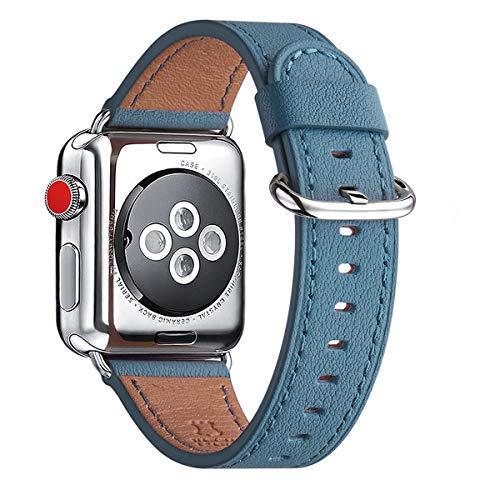 WFEAGL Kompatibel für Watch Armband 38mm 40mm 42mm 44mm,Top Grain Lederband Ersatzband mit Edelstahl-Verschluss Kompatibel für Serie 5/4/3/2/1(Silber) (38mm 40mm, Cape Blau/Silber)