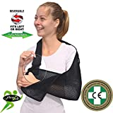 Adult ONE Size Arm Sling Shoulder Support (Black/Black) Medically Approved, Cool, Easy Fit, Thumb Loop, Unisex.