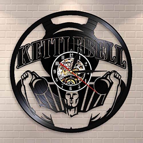 LIMN Culturismo Kettlebell Gym Sign Reloj de Pared Levantamiento de Pesas Entrenamiento Reloj de Pared con Registro de Vinilo Ejercicio Reloj de Pared Inspirador Regalo