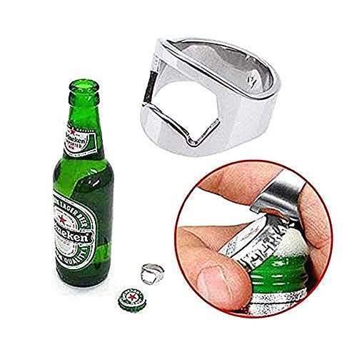 Lovelegis Flaschenöffner mit Ring - Korkenzieher - originelle Geschenkidee - Getränke - Durchmesser 22 mm - originelle originelle Geschenkidee - Silberne Farbe