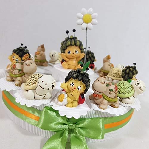 Torta bomboniera Battesimo Bimba/o animaletti Misti Completa di Confetti Colorati (Torta 1 Piano 14 fette)