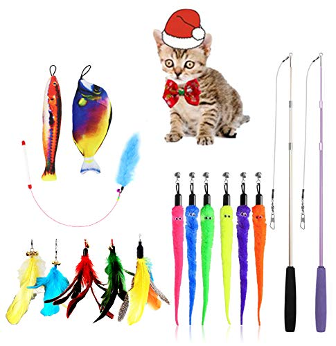 Wadika Cat Feather Wand Toys Cat Christmas Collar & Hat Outfit, 18pcs Interactive Kitten Toys 2 Retractable Cat Wands & 13pcs Teaser Replacements Refills