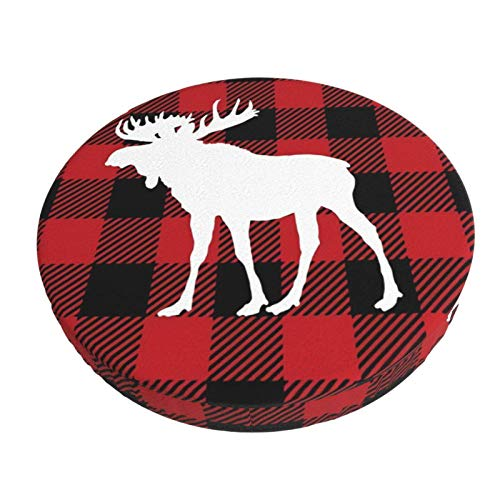 Round Bar Stool Cover Cushion with Elastic Fabric Round Chair Seat Cushion for Wooden Metal Stools Red Buffalo Plaid Moose 12'/13'/14'