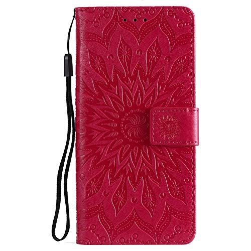 Jeewi Hülle für [Xiaomi Mi 8 Lite] Hülle Handyhülle [Standfunktion] [Kartenfach] [Magnetverschluss] Tasche Etui Schutzhülle lederhülle flip case für Xiaomi Mi8 Lite - JEKT032723 Rot