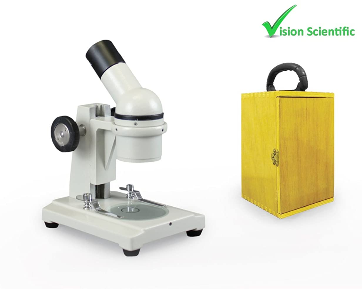 海峡ひも写真撮影浪費Vision Scientific ME20 Field Trip Microscope with Wooden Carrying Case by Vision Scientific