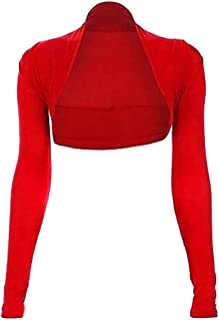 21FASHION Womens Plain Long Sleeves Cropped Bolero Shrug Ladies Fancy Party Wear Cardigan