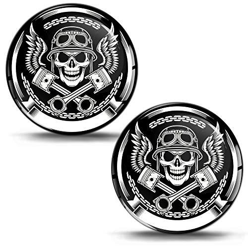 SkinoEu® 2 x 3D Gel Silicone Flexibles Autocollant Stickers Skull Crâne Tête de Mort pour Voiture Moto Fenêtre Porte Casque Scooter PC Tuning JDM KS 4