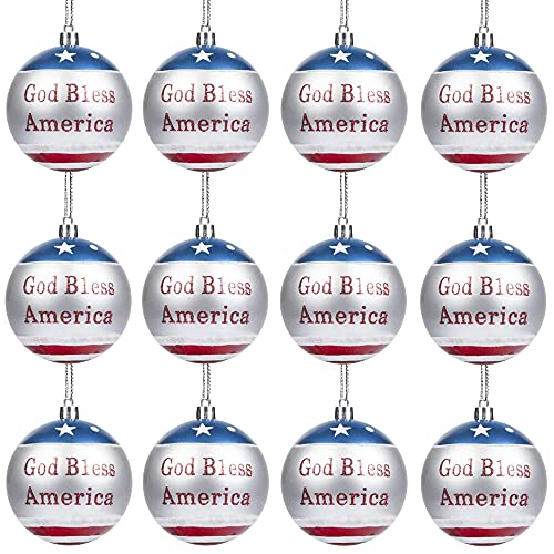 Iceyyyy 12pcs Independence Day Hanging Ball Ornament - 4th of July Letter Hanging Ball Ornament Party Decor for Memorial Day, Independence Day, Election Day, USA Themed Party Supplies.