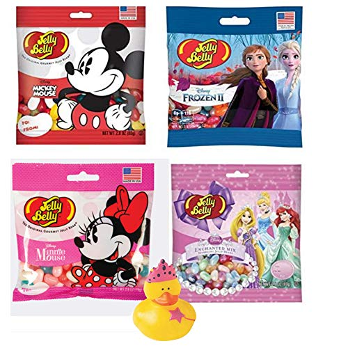 Jelly Belly Jelly Beans Variety Pack 4- 2.8oz Bags-Mickey-Frozen 2-Disney Princess-Minnie Mouse -Cool Gadget Gift Theme Park snack Pack With Princess Rubber Ducky