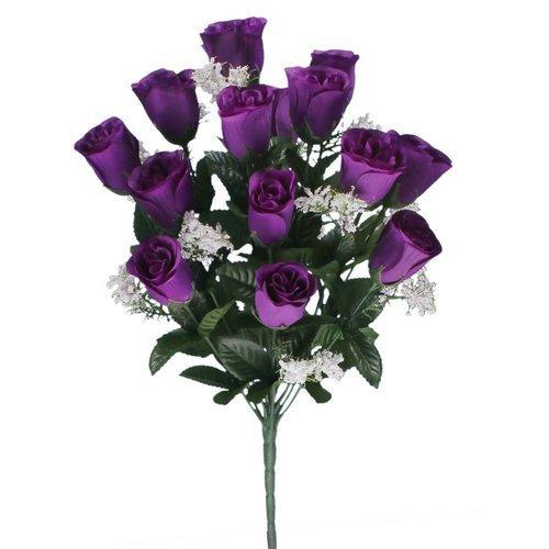 18 head cadbury purple rose buds bush/bunch modern colour ideal for weddings