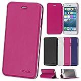 doupi Deluxe FlipCover para iPhone 6 6S (4,7 Pulgada), Carcasa Case magnético Funda Caso tirón Estilo Libro Protector de Cuero Artificial, Rojo
