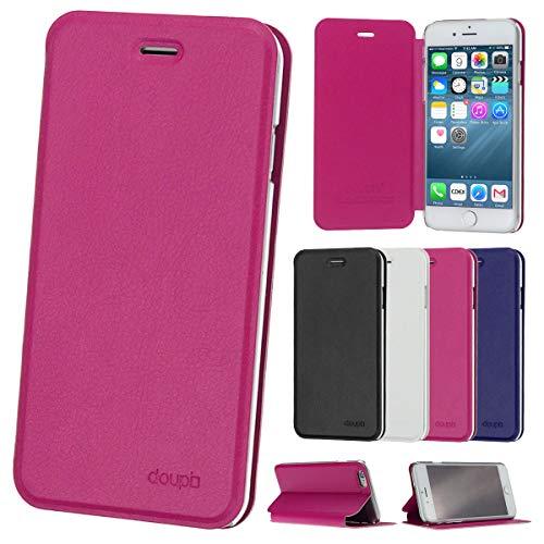 doupi Flip Case für iPhone 6 / 6S (4,7 Zoll), Deluxe Schutz Hülle mit Magnetischem Verschluss Cover Klappbar Book Style Handyhülle Aufstellbar Ständer, rot