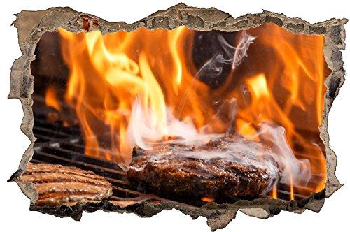 Grill Fleich Feuer BBQ Wandtattoo Wandsticker Wandaufkleber D0848 Größe 40 cm x 60 cm