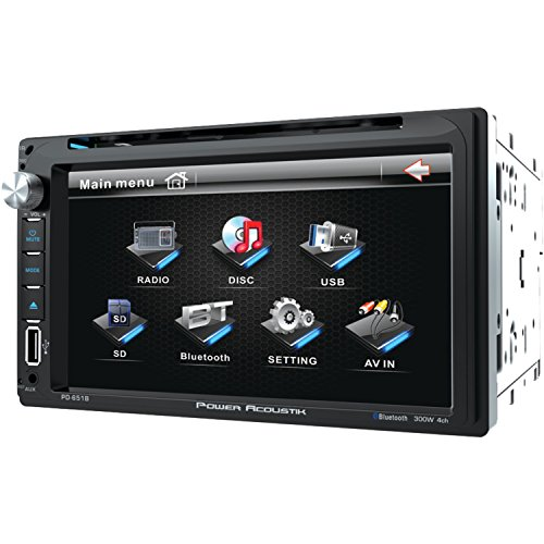 Power Acoustik PD 651B 6.5' Double-DIN in-Dash LCD Touchscreen DVD Receiver with Bluetooth, Black (PD651B)