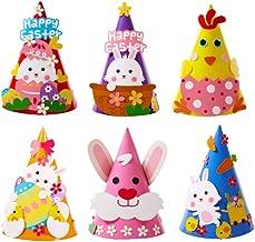 Amosfun 6PCS Easter Party Hat DIY Craft Bunny Rabbit Chicken Cone Paper Hat Animal Cosplay Cap Children Kids