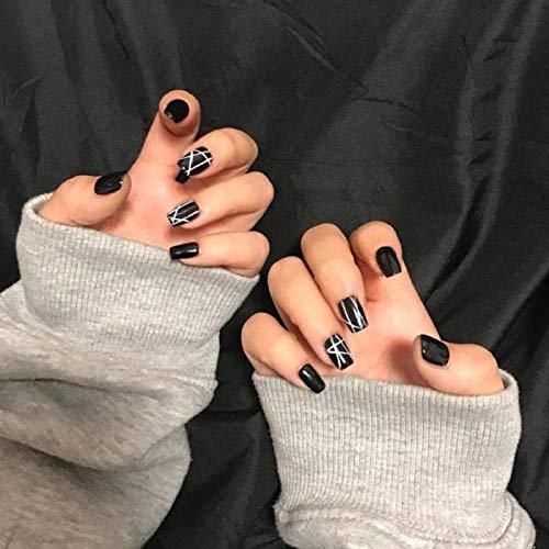 TJJF 24 Pcs Faux Nial Fashion Ins Stripe Noir Artificielle Nail Conseils Court Tête Ronde Couverture Détachable Faux Ongles Avec Colle Appuyez Sur