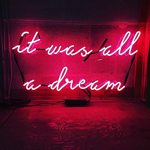 Desung Brand New 20' It Was All A Dream (Various sizes) CUSTOM Design Decorated Acrylic Panel Handmade Man Cave Neon Sign Light UT108