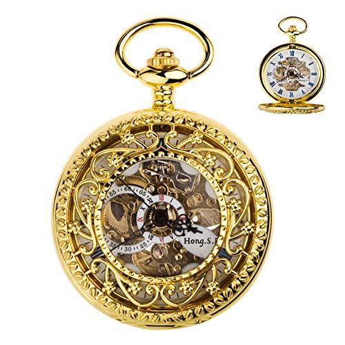 """Goldene Mechanische Taschen-Uhr Für Männer, """"Secret Garden Mode Roman Hohl Flip Uhr Mit Kette, Vater Ehemann Großvater Geschnitzte"""