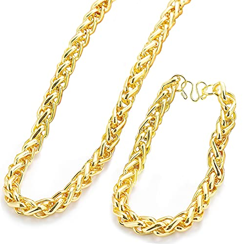 Collar Oro Cubano,XiXiRan Collares para Hombres Cubana, Gargantilla de Oro Hombre, Cadena Cubana Gruesa, Cadena Cubana Chapado de Oro Hombre, Cadena de Gargantilla Hombre Oro (Collar + Pulsera)