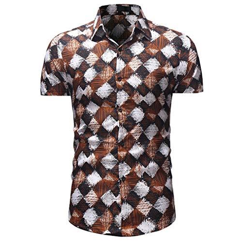 CICIYONER Herren Hemd Strandhemd Hawaiihemd Kurzarm Urlaub Hemd Freizeit Reise Hemd Party Hemd M L XL XXL XXXL
