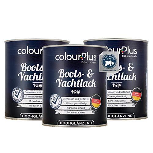 colourPlus® 1K Bootslack & Yachtlack (3x750ml, weiß) Bootslack Holz - Schiffslack - Bootslacke - Boot Lack - Klarlack Holz - Made in Germany