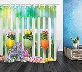 123456789 79'Cortina de Ducha de Tela Impermeable Set Huevos Coloridos Flores Pascua Madera Valla