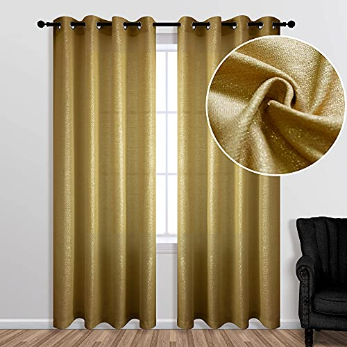 Gold Curtains 84 Inch Length for Living Room 1 Single Panel Semi Sheer Window Treatment Decor Grommet Glitter Sparkle Mustard Brown Golden Yellow Curtains for Bedroom Girls 52x84 Inches Long