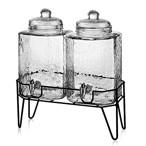 Style Setter Hamburg Dispensers with Stand (Set of 2), Glass, 1.5 Gallons...