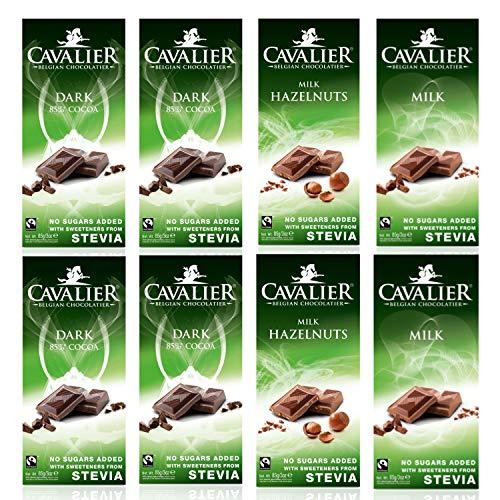 Cavalier - cioccolato dolcificato con eritritolo + stevia e senza aggiunta di zuccheri 8x85g