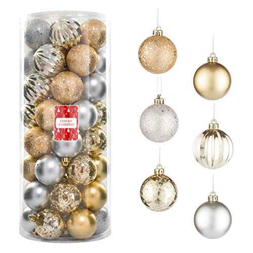 """Every Day is Christmas 50ct 57mm/ 2.24"""" Christmas Ornaments, Shatterproof Christmas Tree Ornaments Set, Christmas Balls Decoration (Gold & Silver)"""