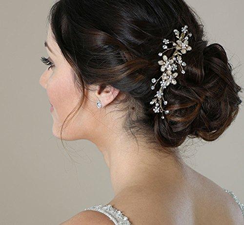 SWEETV Hochzeit Haarkamm Silber - Perle Blume Braut Clip Haarschmuck für die Braut, Frauen