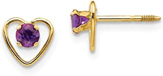 14k Yellow Gold 3mm Purple Amethyst Birthstone Heart Earrings February Love Fine Jewelry Gifts For Women For Her