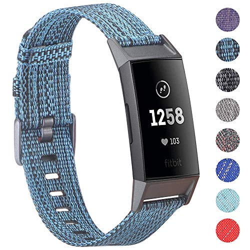 EZCO Bands Compatible with Fitbit Charge 4 / Charge 3 3SE, Soft Woven Fabric Canvas Breathable Watch Strap Replacement Wristbands Accessories Women Man for Charge 3 4 Watch (Not for Charge 2)
