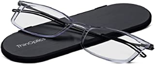 ThinOptics Reading Glasses + Milano Aluminum, Magnetic Case | Frontpage Brooklyn Collection, Clear Frame 1.50 Strength Readers