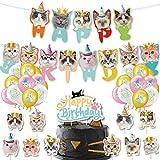 Teblacker Guirnalda de cumpleaños con diseño de gato y cara de gato