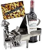 BRUBAKER Wein Flaschenhalter Pianist Klavierspieler Metall Skulptur mit Geschenkkarte -