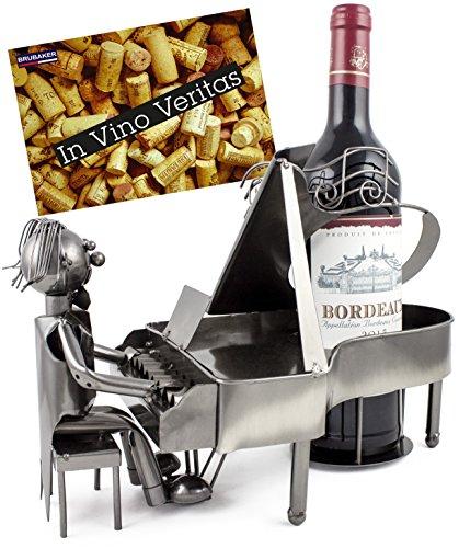 BRUBAKER Wein Flaschenhalter Pianist Klavierspieler Metall Skulptur mit Geschenkkarte