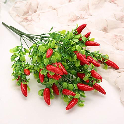 DUDNJC - Bouquet di peperoncino artificiale di peperoncino, 10 pezzi di peperoncino rosso di Natale, in plastica, realistica pianta da frutta in plastica, per decorare casa e ufficio (peperoncino)