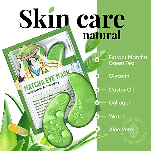 51HaN5xoD L - Under Eye Mask – Under Eye Bags Treatment, Moisturizes With Green Tea Anti-Aging Effect, Eye Mask for Puffy Eyes, Matcha Extract Under Eye Gel Pads For Dark Circles Reducing