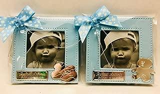 Marcos fotos para invitados bautizo niño GRABADOS PERSONALIZADOS pequeños bebe (pack 12 unidades) portafotos azules