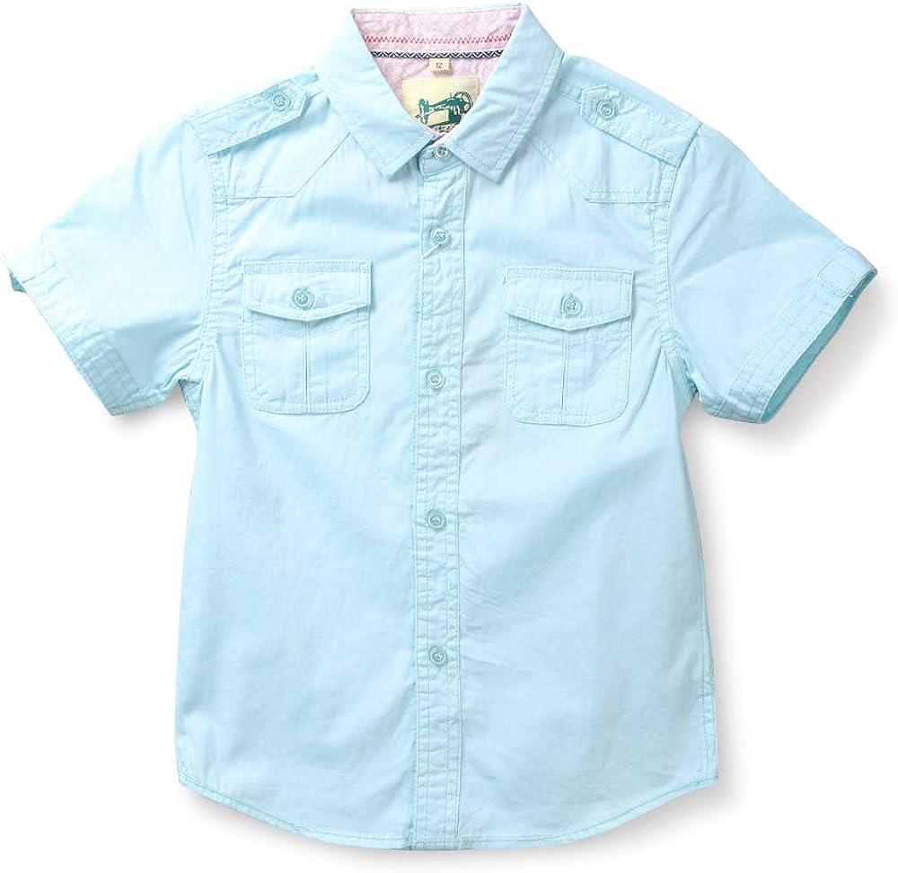 Boys' Summer Short Sleeve Button Down Cotton Lightweight Shirt 7-8 Years