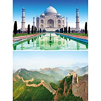 GREAT ART Set of 2 XXL Posters – Cultural Monuments – Taj Mahal & Great Wall of China India Temple Landscape Garden Tomb Border Wall Picture Decoration Photo Poster  140 x 100cm