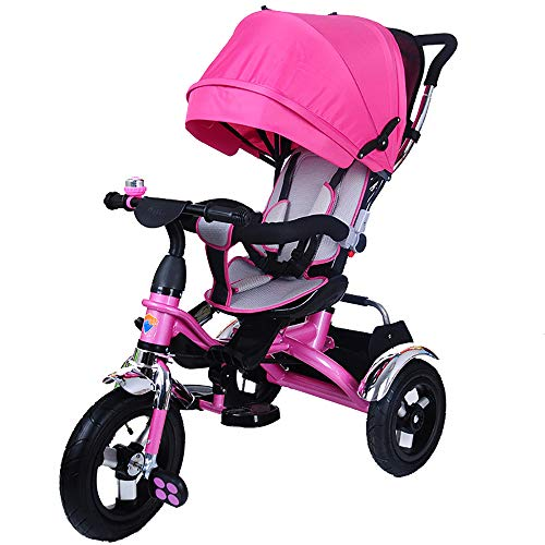 HYLX Triciclo Infantil,4 en 1 Bebe Evolutivo Trike Bike Bebé Plegable Pedal Bicicleta Niños Capota Extraíble Barra Telescópica Control Parental Dirección 6 Meses a 5 Años Máx 30 kg