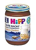 Hipp Milchbreie im Glas - Gute Nacht - ohne Zuckerzusatz, 3-Korn-Flocken, 6er Pack (6 x 190 g)
