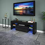 """TV Stand LED Lights Television Media Storage Console Cabinet Modern Wood High-Gloss TV Desk Entertainment Center for 47"""" with Drawer and Shelves Living Room Furniture US (Black-47in)"""