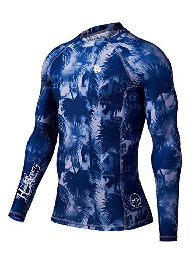 HUGE SPORTS Men's Splice UV Sun Protection UPF 50+ Skins Rash Guard Long Sleeves (Banana Leaf, XS)