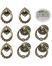 Antieke lade Ring Handgrepen Antieke meubelknop Knoppen met bronzen handvat Antieke kast handvat knop Retro kastknoppen met schroef Vintage meubelknoppen voor Lade Dressoir Kledingkast Keukenkast 8pcs