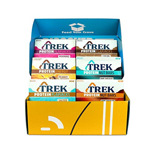Trek Protein Flapjacks Mixed Case Hamper Snack Box | Includes Protein Nut Bars, Flapjacks & Energy Bars| Gluten Free, Vegan Bars, Wholefood, Healthy Snacks (18 Bars)