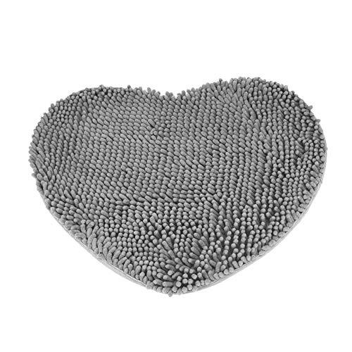 Eastery Herz Teppich Schlafzimmer Tür Flauschig Chenille Teppich Kissen Saugfähig rutschfest Einfacher Stil Bodenmatten Grau (Color : Colour, Size : Size)